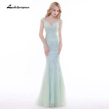 Robe De Soiree Mint Green Mermaid Long Evening Dresses Cap Sleeve Prom Dresses 2018 Party Gowns Vestido De Festa