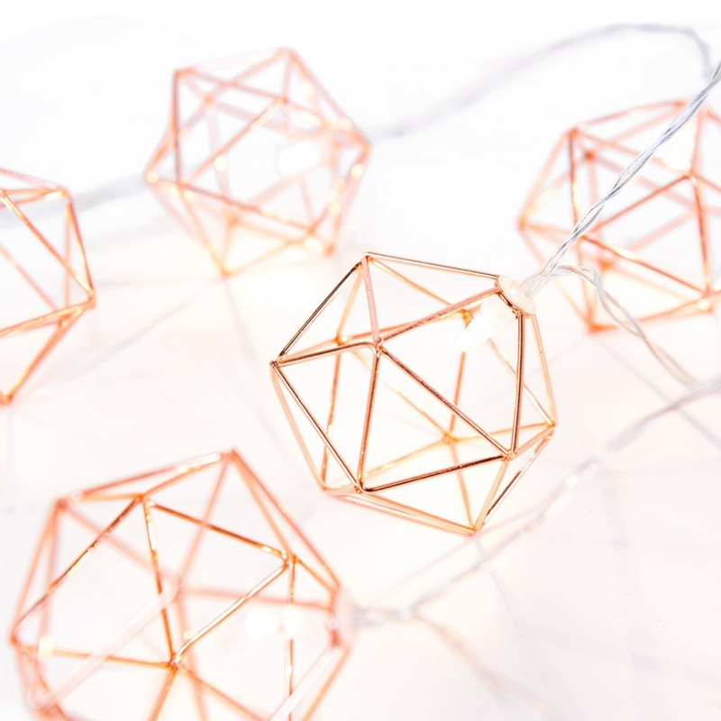 Battery String Lights Birghday Party Decoration 1.5m 10 Lights Nordic Style Rose Gold Hexagonal Light String