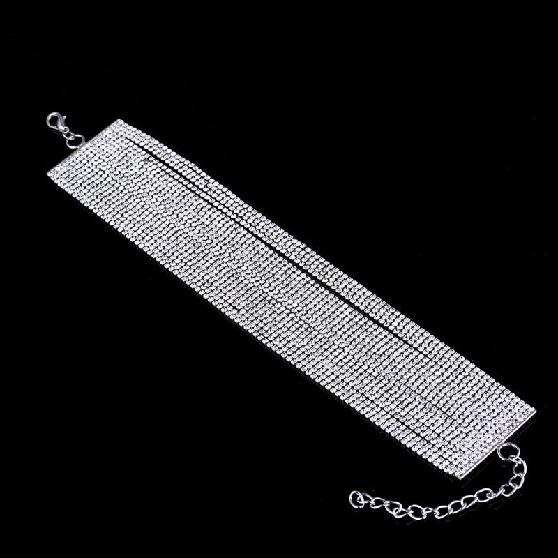 बहु पंक्तियों क्रिस्टल स्फटिक गला घोंटनेवाला हार महिलाओं के लिए लक्जरी Diamante कॉलर मुजेर 2019 सेलेब ग्लैम आभूषण सहायक उपकरण