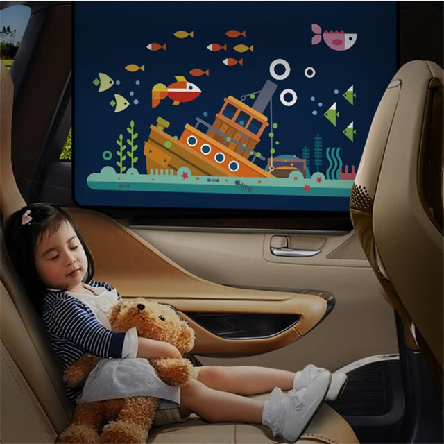 New Brand   CARPRIE 1PC Universal Car Sun Shade Cover Curtain Suction Cup Cartoon Proof Side Window Sunshade Cover For Baby Kids