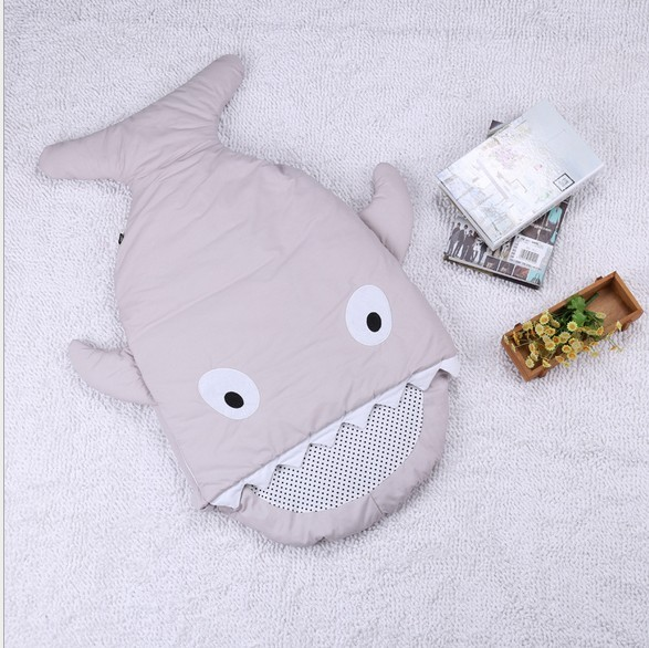 Promotion! Cartoon Sharks Sleeping Bag Winter Strollers Fleabag Blanket Swaddle Baby Blankets Cute Bedding