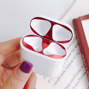 Image 1 - Металлическое покрытие защита от пыли для Apple Airpods пылезащитный чехол с накладкой на пылезащитный чехол с наклейкой для наушников 18K позолоченные наклейки