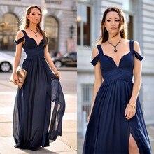 Einfache Elegante Partei Kleid Lange Navy Abendkleid mit Straps Chiffon Höhe Aufgeschlitzte Frauen Formale Kleid
