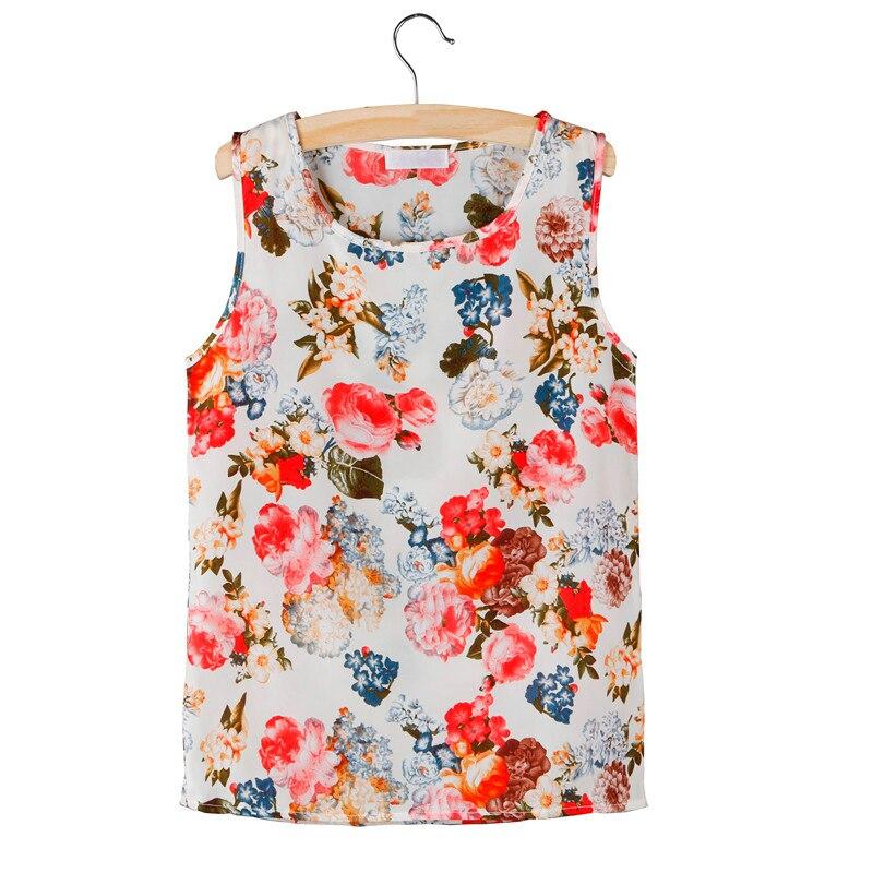Hot Women Chiffon Blouse Shirts 2020 Summer Sleeveless Print Shirt Ladies Vest Tops Female Clothing