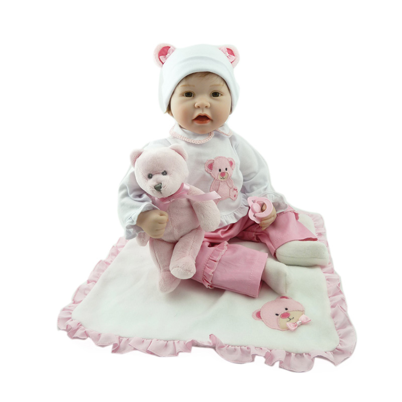 55cm Silicone Reborn Baby Doll Toys With Bear Pacifier Luxury Accessories Princess Dolls Lovely Birthday Gift Girls Brinquedos silicone bear