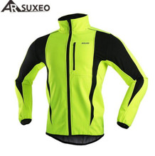 ARSUXEO Winter Warm Up Thermal Fleece Cycling Jacket Bicycle MTB Road Bike Clothing Windproof Waterproof Long Jersey недорого