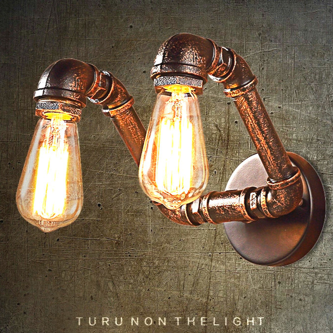 Retro Wall Lamps Industry Loft Light Personality Bedroom Corridor Aisle Bar Club Cafe Restaurant Lamp Water Pipe Vintage Lamps loft retro iron pipe study industrial wind cafe theme hotel restaurant bedroom corridor lamp fashion table lamps sg6