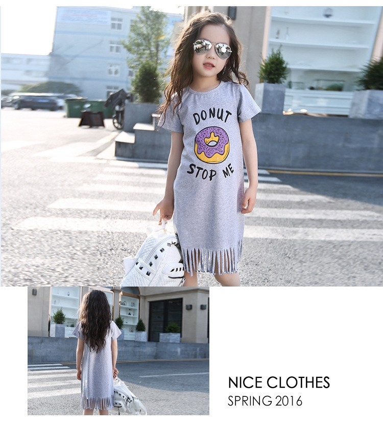 a44efc760ab77 Big Girl Dresses Summer 2016 New Children's Clothing Kids doughnut printed  Dress cotton Princess Dresses Girls Kids 9 10 11Years-in Dresses from ...