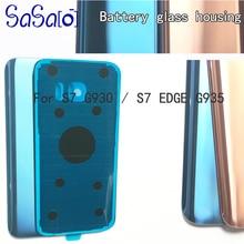 10pcs Voltar Vidro Capa de reposição Para Samsung galaxy S7 G930/Edge G935 rosa azul Rear Habitação Porta Da Bateria caso com Adesivo