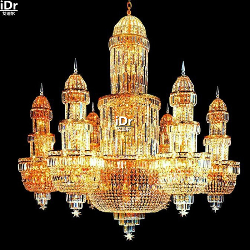 Gold Chandeliers Custom Contemporary Upscale Hotel Lobby