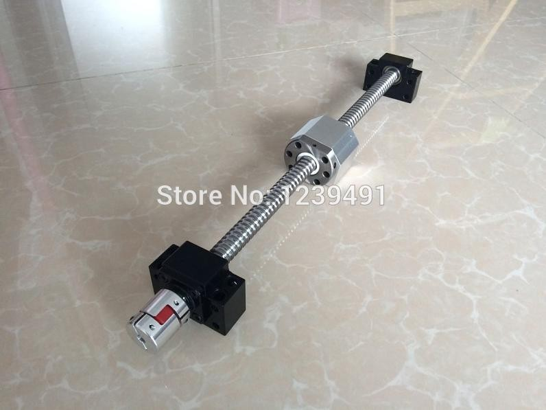 CNC ball screw 20mm SFU2005 / SFU2010 ball screw with BK15 BF15 end machined + Nut housing + Supporter + Coupling