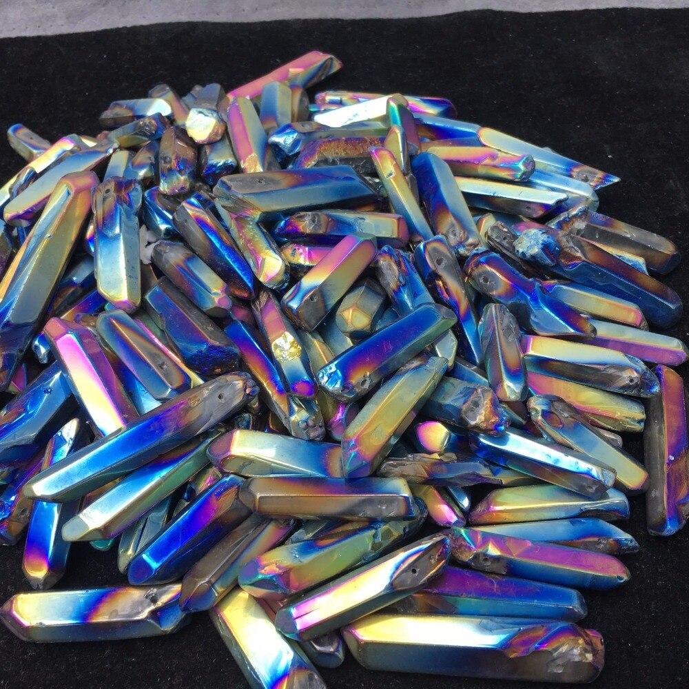 Titanium Rainbow Aura a lot of Lemurian Quartz Crystal Point 50g 8-10pcs H226