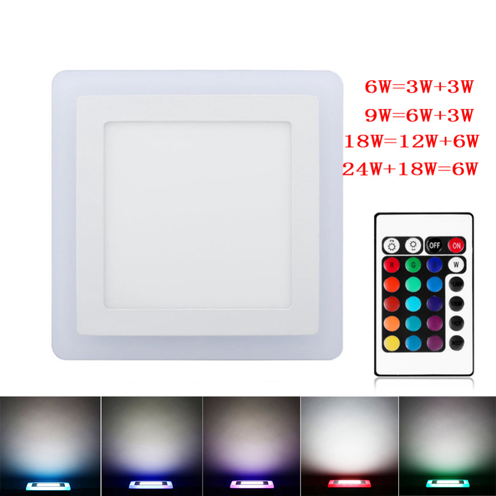 Ultra Slim 6W 9W 18W 24W Dual Color RGB LED Panel Light Concealed Cool White Lamp Square Ceiling Light AC 100-265V