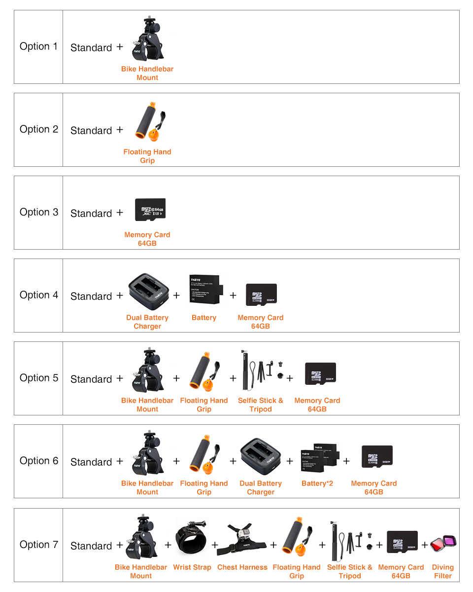 ThiEYE T5 края с трансляция Wi-Fi экшн-Камера настоящий 4 K со сверхвысоким разрешением Ultra HD, Спортивная водоотталкивающая Камера GoPro с EIS дистанционного Управление 60 M Водонепроницаемый