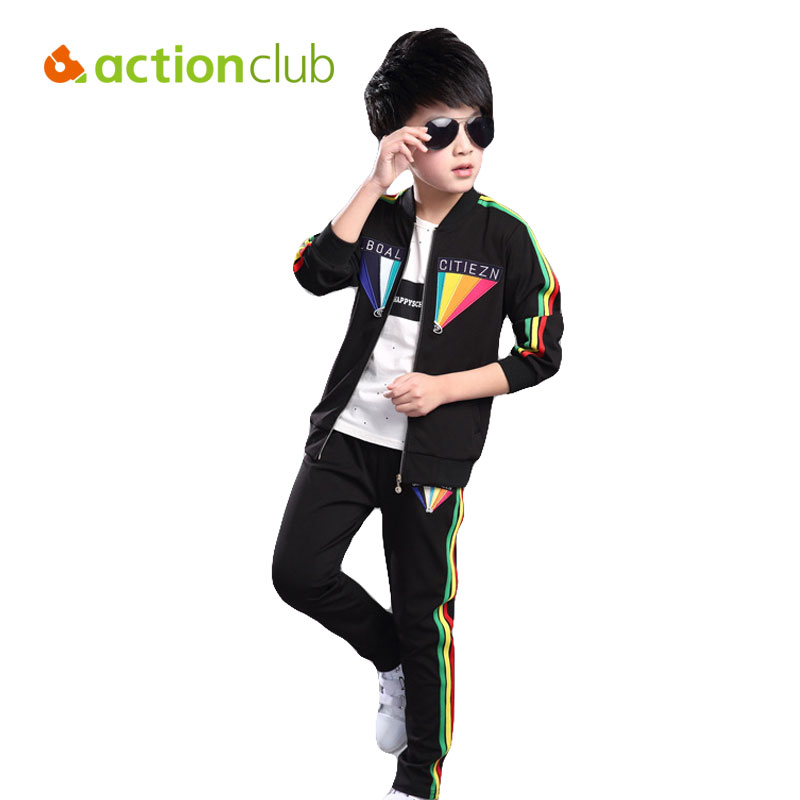Boys Clothing Set Kids Clothes Long-sleeve Shirt Pant Kids Rainbow Clothing Set Casual Sport For 5-12T Boy Spring & Autumn KS468 kids clothes boys set 2017 autumn winter boys clothing set printing long sleeve tops camouflage pant 2pcs tracksuit for girl