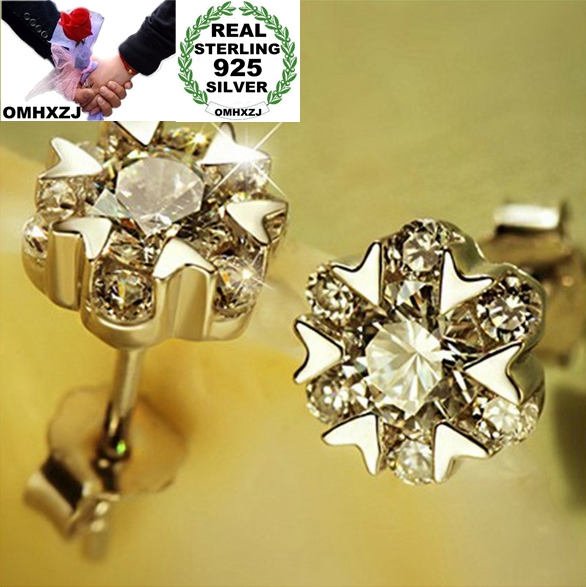 gift Fine lovely Cherry Blossom Sterling 925  Silver buckle drop Earrings YS189