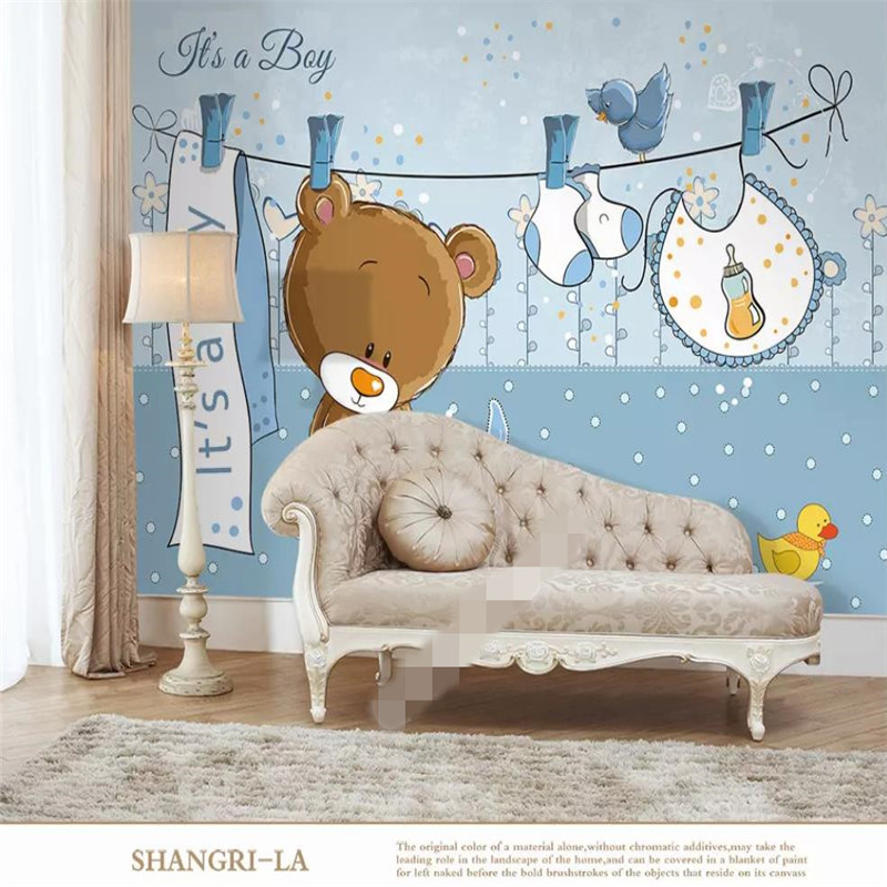 3D wallpaper creative hand-painted bear children sofa background professional production mural photo