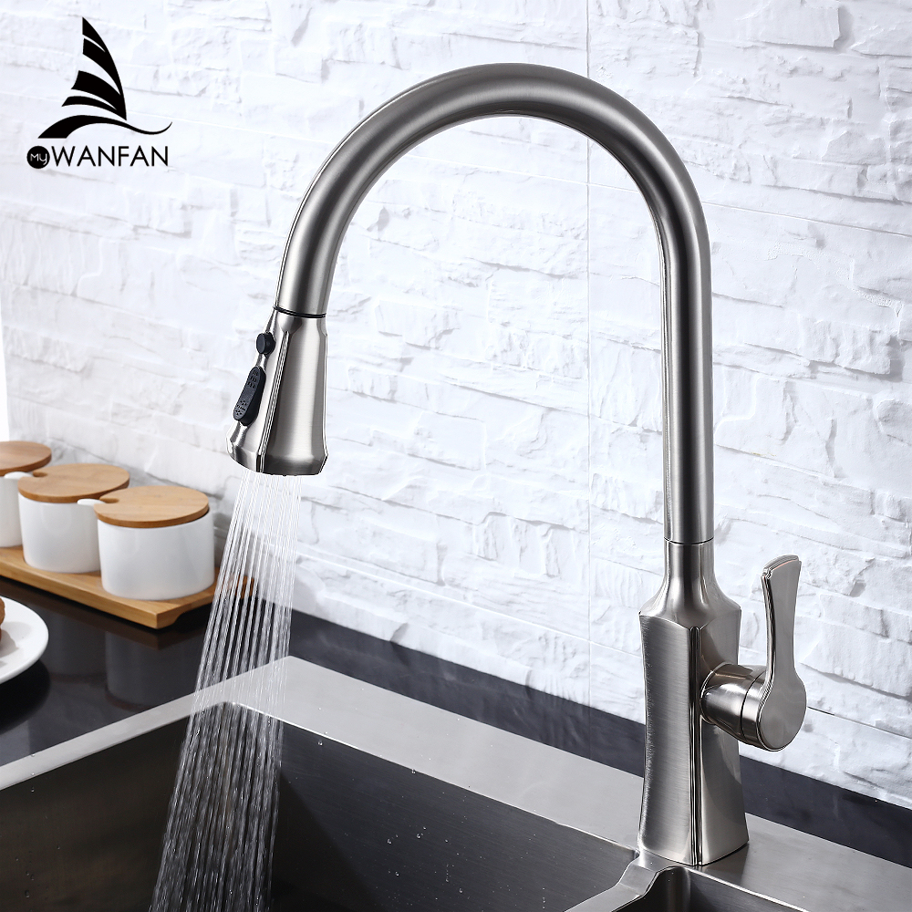 Spray Brushed Nickel Stream Handle Kitchen Faucet Tap Rotation Mixer Swivel Pull Out Durable Sink Sprayer