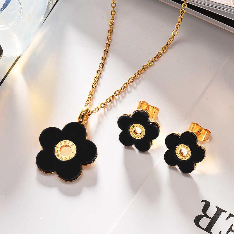 Baoyan 316L Edelstahl Schwarz Blume Anhänger Halskette Ohrring Schmuck Sets Mode Schmuck für Frauen
