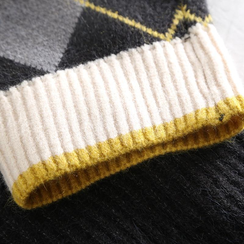 Chandail Manches À En Bande black Beige Pulls 40507 Coréenne Les Automne La Casual Noir Coton Dessinée Pour Col V Plus Vêtements Haut Taille Femmes Hiver Longues AwpFExqUH