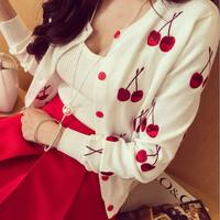 2016 Newest Spring And Autumn Cute Cherry Embroidery Thin Cardigans Jacket Fashion Long Sleeve Knitted Sweater
