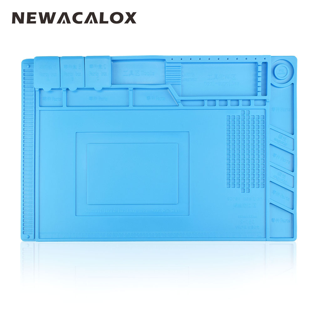 NEWACALOX 1pc 45x30cm Heat Insulation Silicone Pad Desk Magnetic Silica Soldering Station Maintenance Platform For BGA Repair