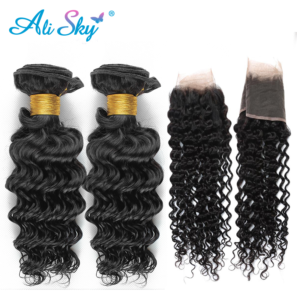 Ali Sky Brazilian Deep Curly Lace Frontal Closure With Bundles 100 Human Hair Weave 2 Bundles