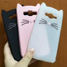 Innovation Cute Cartoon Glitter Beard Cat Ears Soft Silicone Case For Samsung Galaxy 2016 A3 A5 J1 J3 J5 J7 Grand Prime Cover