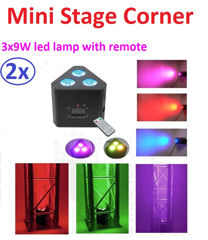 2xLot Hot 2018 Led Par Lights 3x9W 3in1 RGB Mini Led Corner Stage Effect Light 3