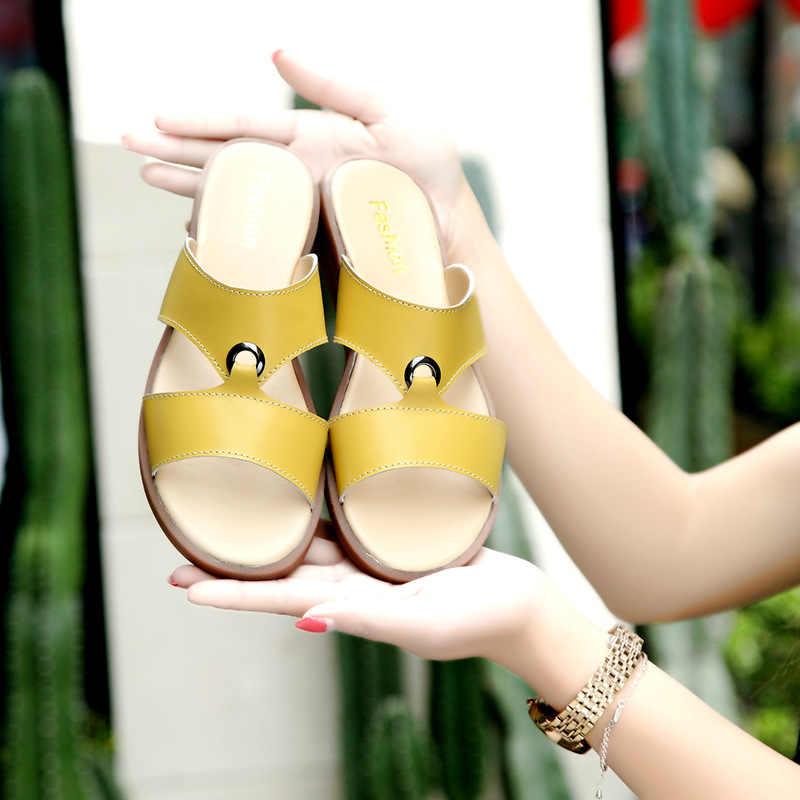 DONGNANFENG ผู้หญิงแม่หญิงสุภาพสตรีรองเท้ารองเท้าแตะหนังวัวแท้ PU ชายหาดฤดูร้อนๆขนาด 35-41 XLZ-223