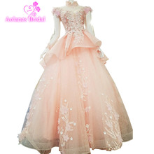2018 New Arrival Aolanes High Neck Ball Gown Floor-length Tulle Empire Illusion Evening Dresses Red Blue Gray Pink Prom