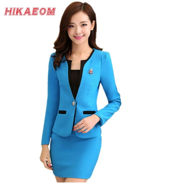 219a04e00 Women Office Uniform Designs Sets Women's Wear Suits Beauty Salon Wholesale  Conjuntos Femininos Com Saia Blusas
