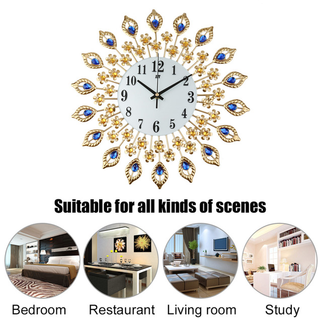 European Style Creative Diamond Peacock Wall Clock Of Europe Type Style Fashion Metal Set Auger Clock Sitting Room Quiet Quartz