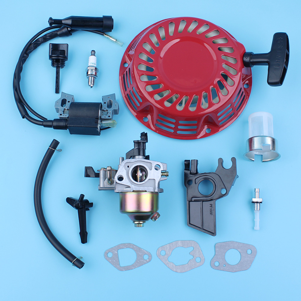 Carburetor Ignition Coil Recoil Starter Candle Spark Filter Kit For Honda GX160 5.5HP GX200 6.5HP 168F 170F Gas Engine Generator 1 set recoil starter cup assembly red pull start for honda gx120 gx160 gx200 engine