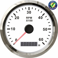 0 6000RPM Auto Tachometers Tuning Marine Revolution Meters 85mm 12v/24v with Backlight for Automobile Truck Ship