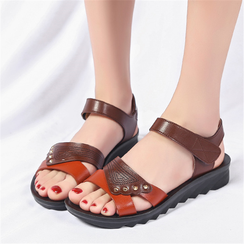 Summer Middle Aged Women S Sandals Shoes 2018 Fashion Soft