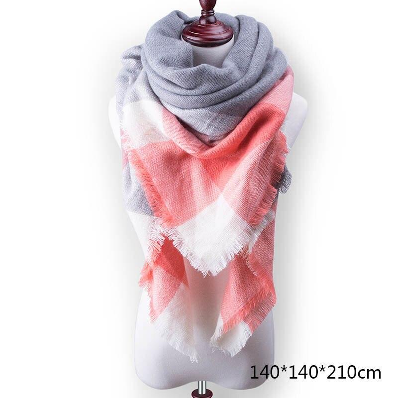 Горячая Распродажа, Модный зимний шарф, Женские повседневные шарфы, Дамское Клетчатое одеяло, кашемировый треугольный шарф,, Прямая поставка - Цвет: A4