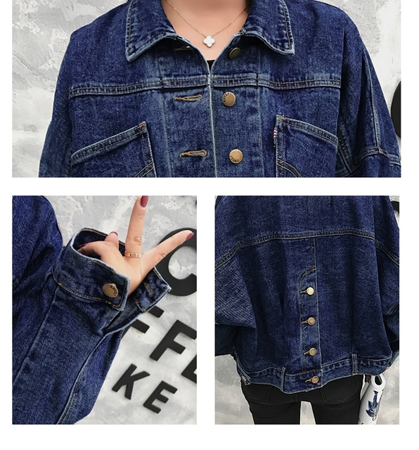 Fashion Bawing Sleeve BF Denim Back Buttons Short Jacket Jeans Spring Lagenlook Women Loose Coats Jean Plus Size Outerwear 4