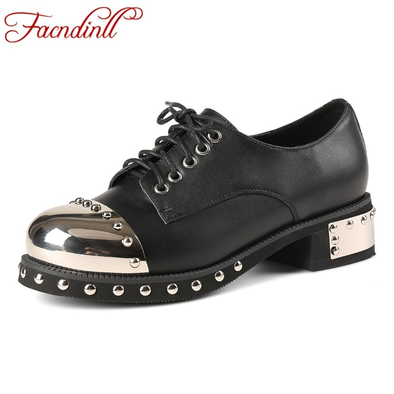 FACNDINLL women shoes real leather pumps high heels rubber pumps sapato feminino lace-up platform ladies rivets motorcycle shoes купить
