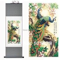Горячая распродажа высокое качество искусства стены украшения дома подставил павлин картина традиционной китайской живописи из шелка про...