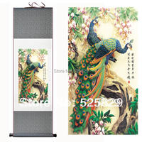 Hot Sale High Quality Wall Art Home Decoration Framed Peacock Picture Traditional Chinese Painting Of Silk