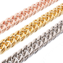 Mens Chain 6/8/10/12/15/17mm Heavy Gold/Silver/Rose Gold 316L Stainless Steel Double Curb Link Boys Necklace Wholesale