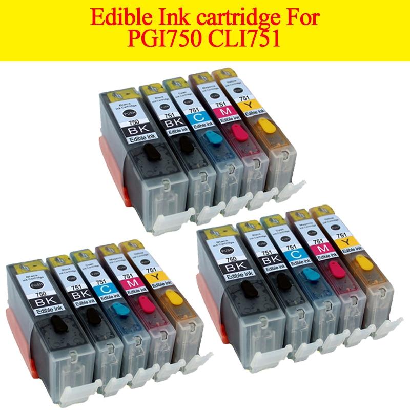 15pcs PGI 750 CLI 751 edible ink cartridge For canon Pixma MG5470 MG5570 MG6470 MG6770 MX927
