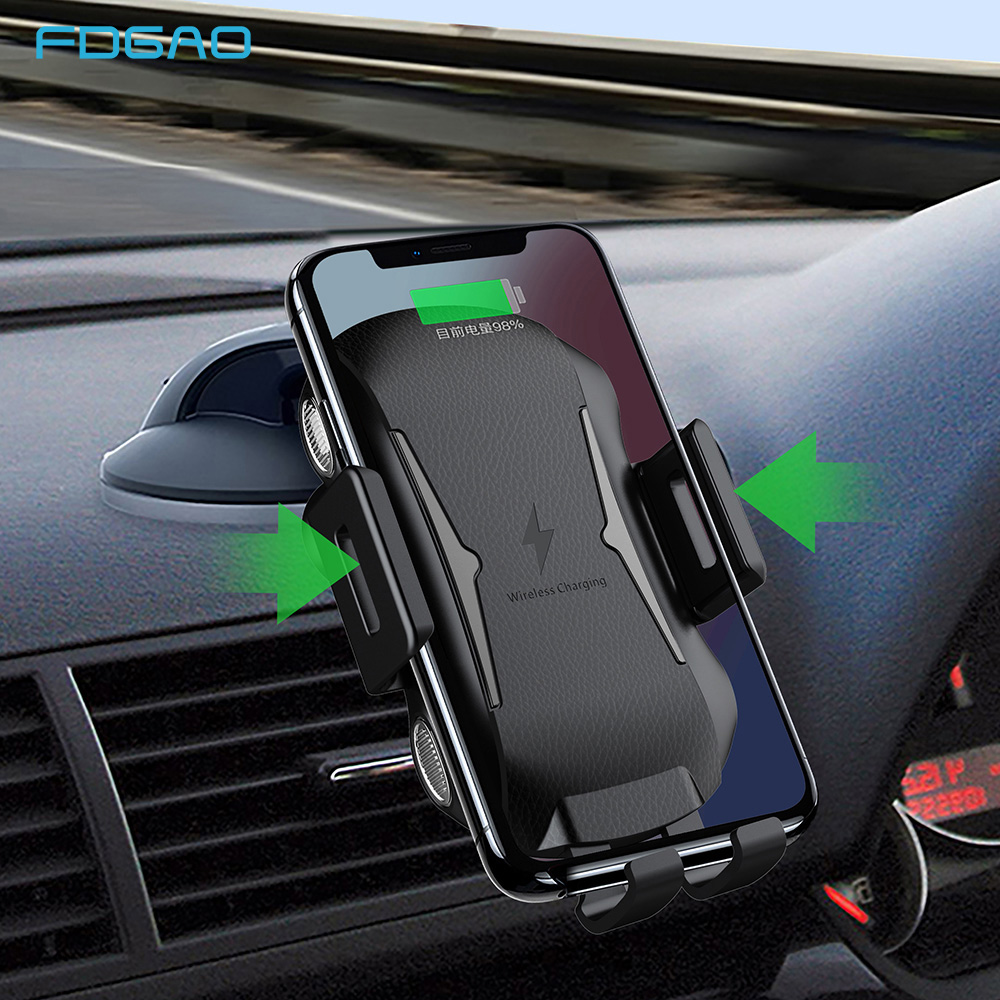 FDGAO 10W Car Mount Qi Wireless Charger For iPhone X XS Max 8 Plus XR Fast Charging Air Vent Holder for Samsung S9 S8 Note 9 8