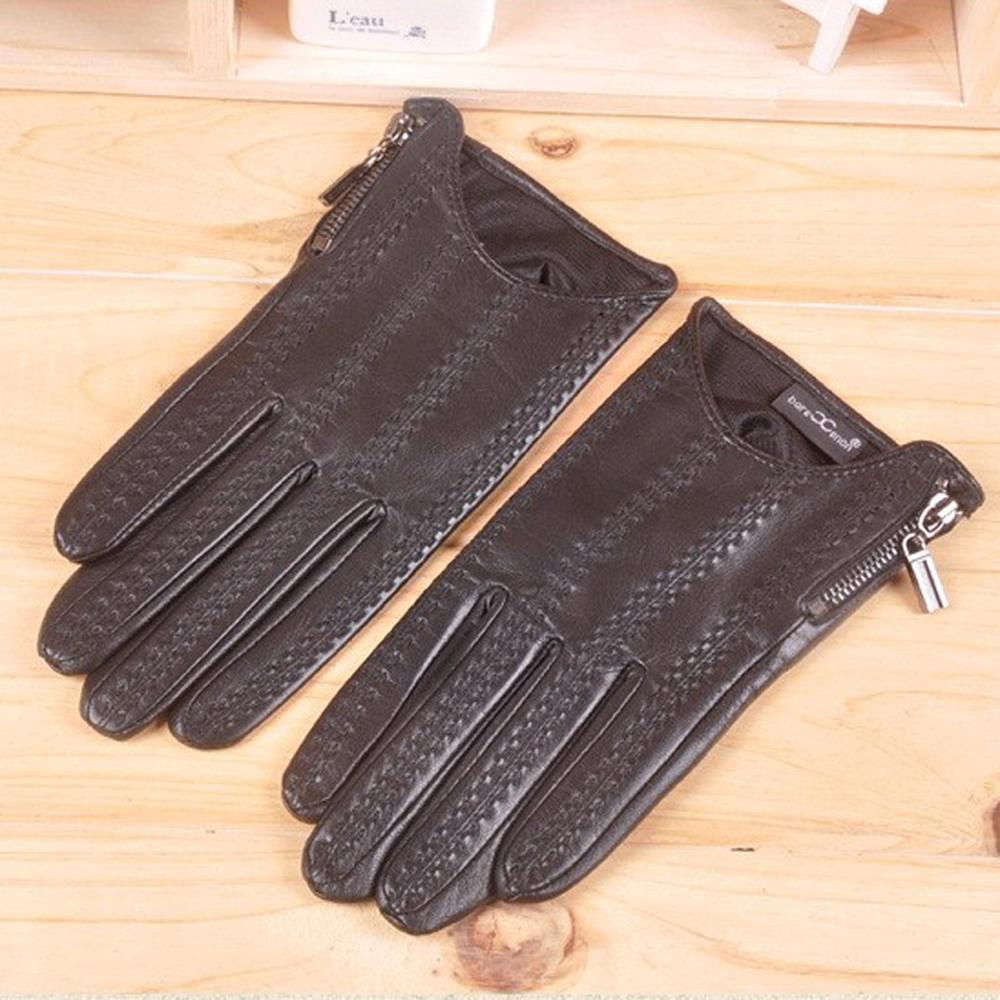 Leather driving gloves with zipper - Svadilfari Wholesale 2017 Fashion Thickened Keep Warm Velvet Real Leather Gloves With Zipper Winter Warming Mitten