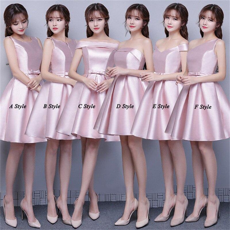 84dd9b0a522d Mingli Tengda A Line vestidos de dama de honor 2018 de hombro Vestido de  satén vestidos cortos para ...