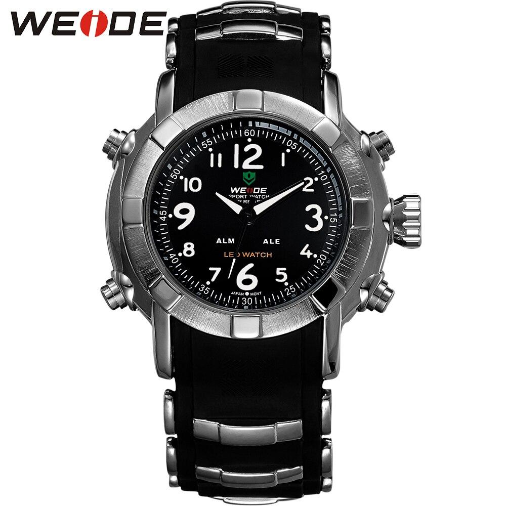 6f12e212678e Weide hommes quartz numérique montre en acier bracelet en silicone boucle  japon mouvement relogio led militaire montres étanches