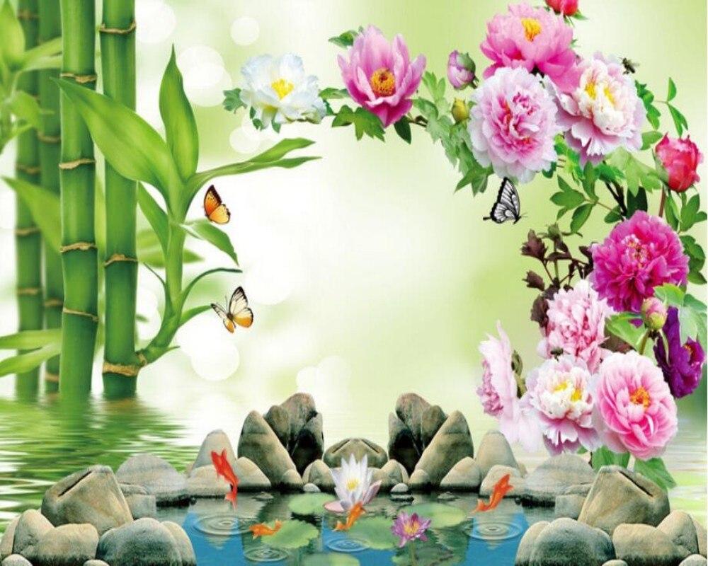 Wallpaper bambus und steine  Beibehang Benutzerdefinierte Tapete 3D Bambus Pfingstrose Blume ...