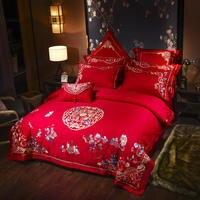 Китайский Свадебный комплект постельных принадлежностей queen size из египетского хлопка кровать установить вышивка домашний текстиль пара пр
