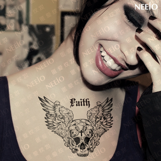 temporary tattoo skull cross wings death chest back waist leg arm large tattoo stickers makeup high